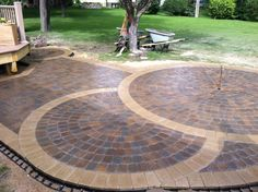The Nearly Completed Circular Patio Anchor Kingston Pavers Were Used In Center Of And Buff Limestone Around Border