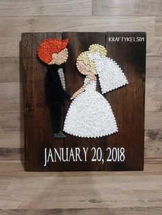 BRIDE AND GROOM STRING ART SIGN WITH WEDDING DATE