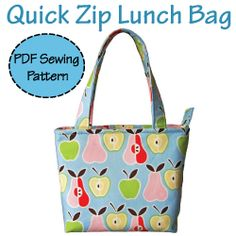 Insulated lunch bag tutorial. There's even a pocket for an ice pack! Best part, it's washable!