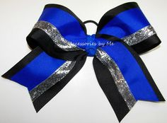 Big Cheer Bow Electric Blue Black Silver Glitter Ribbon Girls Children Teen Cheerleader Spirit Team All Stars Discount Deal Wholesale Lot by accessoriesbyme on Etsy https://www.etsy.com/listing/216049049/big-cheer-bow-electric-blue-black-silver