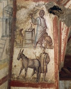 Fresco in Via Latini Catacombs (fresco). Paleo-Christian, (4th century). Il Parco Archeologico delle Tombe di via Latina; discovered 1857-58 by Lorenzo Fortunati; Catacomb of Via Latina, Rome, Italy. [Christian Roman ass burial chamber catacomb decoration decorative donkey early Christian emperor illustration illustrative male mural painting subterranean wall]
