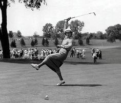 Babe Didrikson-Zaharias. What an incredible golfer and all-around athlete! http://en.wikipedia.org/wiki/Babe_Zaharias