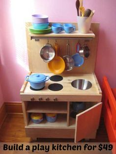 Wanna just buy one outright? I don't blame you, I got tired just writing about all these awesome projects. Two super cute (gender-neutral) play kitchens on amazon are Melissa & Doug's corner kitchen (more compact) and Kid Craft red retro (more deluxe). I also encourage you to be on the hunt in your local Craig's …
