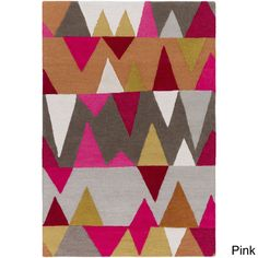 Hand-Tufted Country Wool Rug (8' x 10') (Pink), Size 8' x 10'