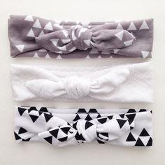 Jersey Knit Baby Girl Headband Tie Knot gray by jumpingjackjack