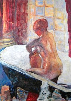 "Pierre BONNARD / ""Nu a la cruche"" Bonnard did many paintings of his wife Marthe in the bath, coming out of the bath, stepping in the bath. This one has luscious colors, especially the reds."
