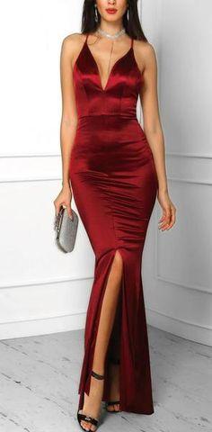 aade9e19cef Red Spaghetti Straps Mermaid Elegant Side Slit Modest Formal Custom Long Prom  Dresses