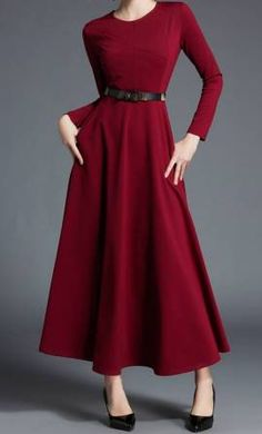 b6835073cd60 Glenda is a deep wine fit and flare long sleeve modest dress with matching  black and
