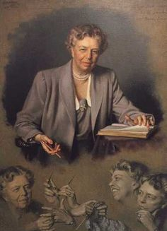 I did not know this: Eleanor Roosevelt was such a knitter that the official White House portrait of her includes an image of her knitting hands.