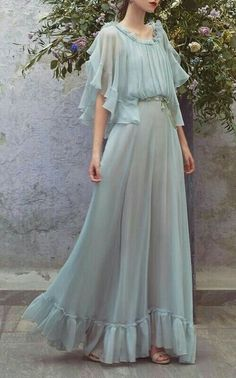 Chiffon Ruffle Full Length Dress dress with ruffle ,Maxi Sexy Prom Party Gowns Long Prom Dresses , Custom Made ,New Fashion Beautiful Prom Dresses, Pretty Dresses, Maxi Robes, Chiffon Ruffle, Chiffon Dress, Elie Saab, Dream Dress, Day Dresses, Dress Outfits