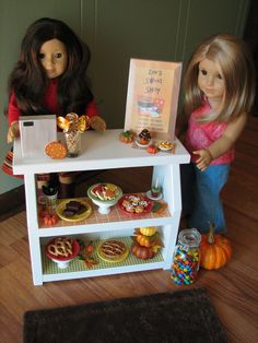 "Bakery Case with Cash Register - Sweet Shop Cafe / Bakery Set for American Girl or other similar 18"" dolls.  via Etsy."
