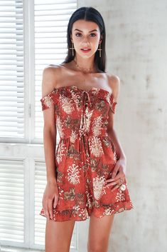 cf824c481001 Simplee Floral print jumpsuit romper women Off shoulder lace up boho  clothing jumsuit 2018 Summer strap playsuits short overalls