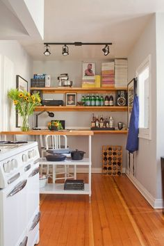 A Kitchen Island, More Storage, and a Home Office Workspace... All In One! Kitchen Spotlight | The Kitchn Great use of little space!