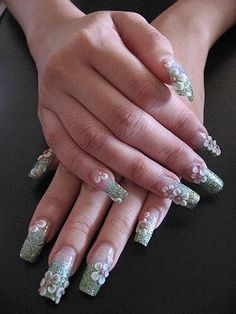 3D Flowers Acrylic Nails Design