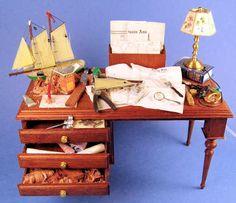 "Dollhouse miniature building a ship model By Taller Targioni  -  $435   -   4 3/4"" wide, 3 1/2"" deep"