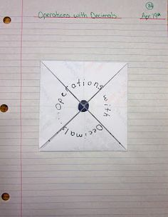 Operations with decimals foldable