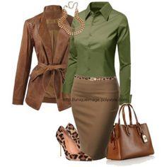 Офисный стиль в модном сочетании. Цвет Kale (листовая капуста) в коричневым цветом и леопардовым принтом.