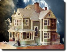 Handmade dollhouse by CDHM Forum Member Ron James (LOVE the front porch, the conservatory & the gothic window!!)