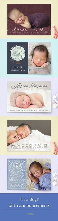 It's a Boy! Birth Announcements for a baby boy from Minted.