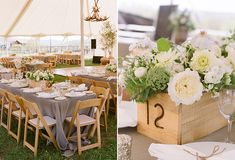 A summer outdoor wedding table with green and white flowers, grey linens, and natural wood. Outdoor Wedding Tables, Wedding Table Centerpieces, Reception Decorations, Table Decorations, Centrepieces, Marquee Decoration, Rustic Wooden Box, Cool Tables, Wooden Textures