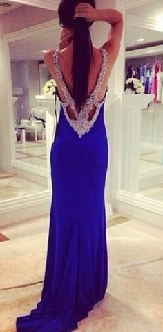 Sexy V Neck Beaded Backless Mermaid Fitted Royal Blue Prom Dresses Long 2015 Party Evening Elegant $135