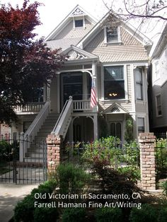 Old Stuff. By California Artist, Writer, Toymaker, Farrell Hamann わびさび Old Victorian Homes, Victorian Houses, Craftsman Porch, House Trim, Diy Woodworking, Sacramento, Old Houses, Exterior, Architecture