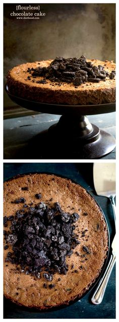 Cookies and Cream Flourless Chocolate Cake -- rich, crunchy, smooth, chocolaty cake with gluten-free cookies! http://diethood.com/cookies-and-cream-flourless-chocolate-cake/