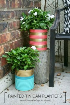 Painted Tin Can Planters http://www.hometalk.com/l/GFV