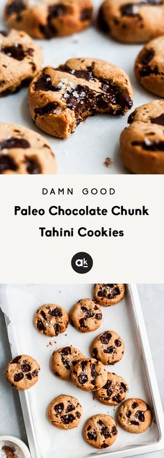 Paleo chocolate chunk tahini cookies with puddles of dark chocolate in every bite. These cookies are sweet, chewy, gluten free, dairy free and grain free! Made with almond flour and coconut flour. They& damn good! Paleo Dessert, Healthy Dessert Recipes, Healthy Baking, Gourmet Recipes, Baking Recipes, Aloo Recipes, Milk Recipes, Kitchen Recipes, Egg Recipes