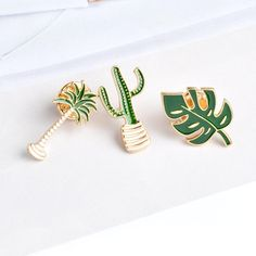Wallmart.win Simple Cartoon Green Plant Coconut Tree Mexican Cactus Leaf Metal Brooch Pins DIY Button Pin Denim Jacket Pin Badge Gift…