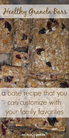 This healthy granola bar recipe can easily be customized with your family's favorite ingredients!