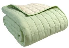 Sage Green Quilted throw / bedspread Sage Green Bedroom, Green Accents, Cotton Quilts, Bed Spreads, Comforters, Ottoman, Blanket, Room Ideas, Furniture