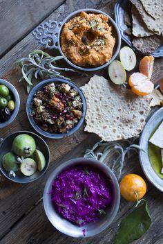 Secret Recipe: SHED's Mezze Platter - Sweet Potato Hummus with Pistachio Dukkah - Pistachio Dukkah - Red Quinoa with Spiced Root Vegetables - Beet Tzatziki