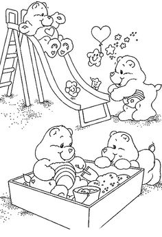 Carebears playing coloring pages for free