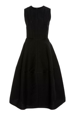 Narciso Rodriguez's dot jacquard sculpted dress is designed with a rounded neckline, sleeveless, with a fitted waist, and a voluminous full skirt at midi length, with pockets at side. Full Skirts, Narciso Rodriguez, Black Midi Dress, Sculpting, Dots, Cotton, Fashion Design, Outfits, Shopping