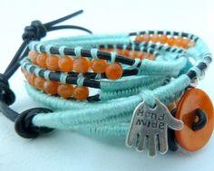 """Wrap bracelet 5 tours de poignet : coton turquoise, jades oranges, perles en argent, en quartz rose, main """"hand made"""" argentée.  A voir sur : http://www.alittlemarket.com/bracelet/bracelet_wrap_turquoise-2757269.html"""