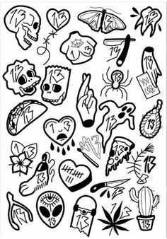 Aaaaaa – Tattoo ideas – – Graffiti World Flash Art Tattoos, 13 Tattoos, Kritzelei Tattoo, Kunst Tattoos, Doodle Tattoo, Tattoo Flash Sheet, Mini Tattoos, Body Art Tattoos, Small Tattoos