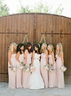 Long tan/beige bridesmaid gowns.  Villa San Juan Capistrano Wedding from Lane Dittoe Fine Art Wedding Photographs  Read more - http://www.stylemepretty.com/2013/07/03/villa-san-juan-capistrano-wedding-from-lane-dittoe-fine-art-wedding-photographs/