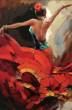 Crescendo 2015 Embellished by Anatoly Metlan - Limited Edition Print Dance Paintings, Indian Art Paintings, Mexican Paintings, Tango Art, Tango Dance, Jazz Dance, Latin Dance, Dance Wear, Flamenco Dancers
