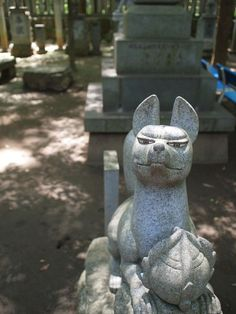 Fox Stone Statue at Toyokawa-Inari Shrine (Aichi, Japan)|いい顔のお稲荷さん