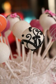 Cake pops with French Design by Sweet Lauren Cakes, via Flickr