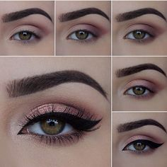 The most beautiful make-up for all occasions (weddings, graduation . - Make-up How to Lidschatten - Makeup Eye Looks, Eye Makeup Steps, Beautiful Eye Makeup, Simple Eye Makeup, Skin Makeup, Eyeshadow Makeup, Natural Makeup, Pink Eyeshadow, Makeup Inspo
