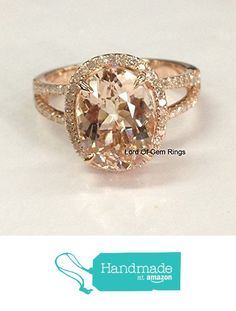 Oval Morganite Engagement Ring Pave Diamond Wedding 14K Rose Gold 8x10mm Split Shank from the Lord of Gem Rings https://www.amazon.com/dp/B01HE1989G/ref=hnd_sw_r_pi_dp_1EFAxbP6QT1K6 #handmadeatamazon