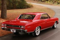 My first car....1966 Chevrolet Chevelle coupe SS / Super Sport 396 cid big block with polished American Racing Torq Thrust II wheels