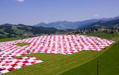 frank + patrik riklin blanket swiss countryside with huge BIGNIK cloth