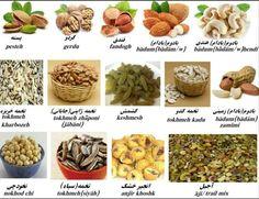 Dry fruits in Farsi Farsi Alphabet, Dari Language, Learn Farsi, Learn Persian, Persian Language, Increase Knowledge, Tongue Twisters, Persian Quotes, Persian Culture