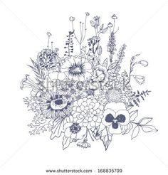 Floristic composition. Bouquet of wildflowers. Vector hand drawn illustration. - stock vector