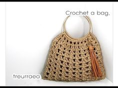 how to a Crochet bag /ネットバック/钩针编织网包/(코바늘 가방뜨기)Treurraea Crochet Pouf Pattern, Crochet Coat, Crochet Baby Hats, Diy Crochet, Crochet Bag Tutorials, Crochet Videos, Crochet Handbags, Crochet Purses, Crochet Shell Stitch