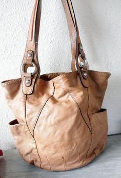 Pelle Leather Distressed BAG Satchel Purse Whiskey Brown Large Hobo   eBay