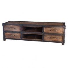 Rustic Industrial Reclaimed Wood TV Console
